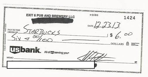 The check Exit 6 Pub and Brewery sent to Starbucks. (Photo: Exit 6 Pub and Brewery)