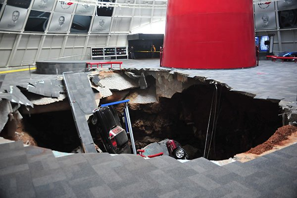 Eight Corvettes fell into a sinkhole that opened up beneath the National Corvette Museum in Kentucky.