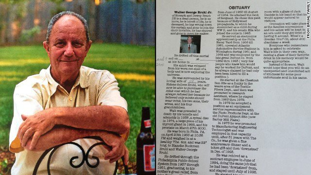 Walter Bruhl Jr. got the last laugh.  The Delaware man, who died Sunday, penned his own humor-tinged obituary and left it for his family to find. Family and friends honored him with a private luncheon on Saturday.