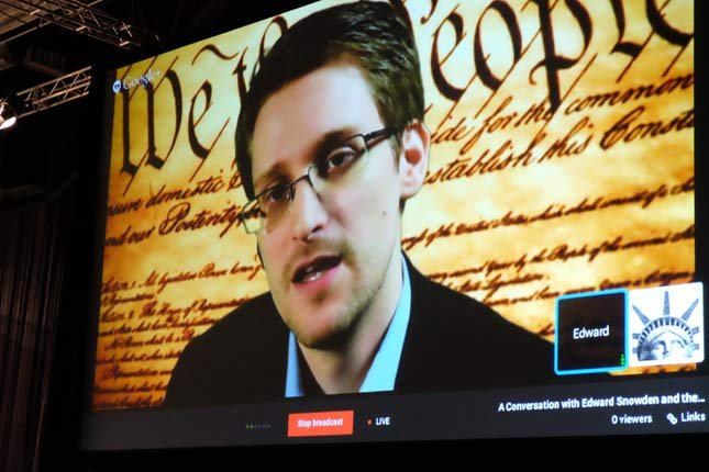 Edward Snowden speaks via webcam at SXSW in Austin, Texas on Monday, March 10, 2014. (Photo: CNN)