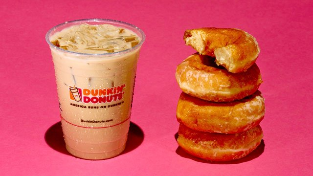 A 16-ounce Dunkin Donuts Iced Caramel Latte has 37 grams of sugar. Each Krispy Kreme donut has about 11 grams of sugar. (Mark Hill/CNN)
