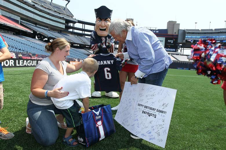 Daniel Nickerson, age 6 of Foxboro, Massachusetts, has an inoperable brain tumor. The New England Patriots helped him celebrate his birthday by inviting him to the stadium to meet the players and go on the field during practice.