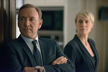 """Caption: Netflix's """"House of Cards,"""" stars Kevin Spacey and Robin Wright,"""