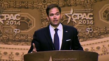 Caption: Florida Senator Marco Rubio speaks at the Conservative Political Action Conference on March 6, 2014.