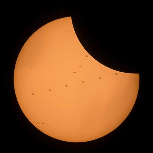 International Space Station photobombs solar eclipse