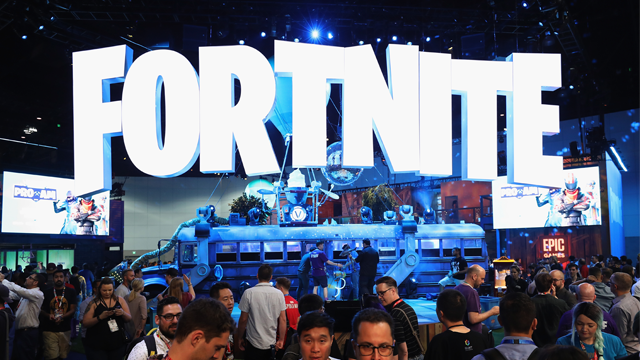 Game enthusiasts and industry personnel visit the 'Fortnite' exhibit during the Electronic Entertainment Expo E3 at the Los Angeles Convention Center on June 12, 2018 in Los Angeles, California. (Photo by Christian Petersen/Getty Images)