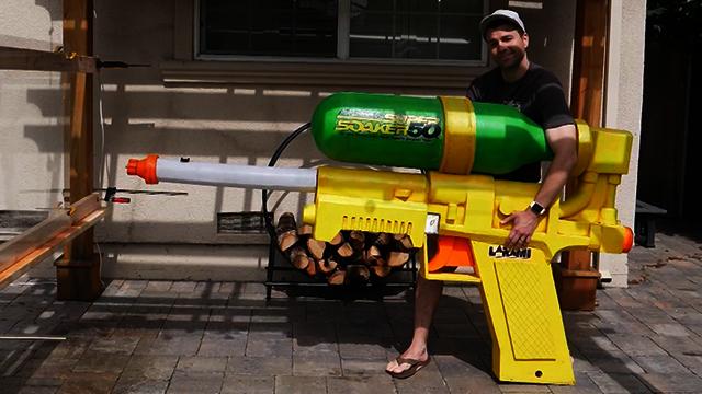 This 'Super Soaker' can slice through a watermelon at 272 mph. (Mark Rober/YouTube via CNN)