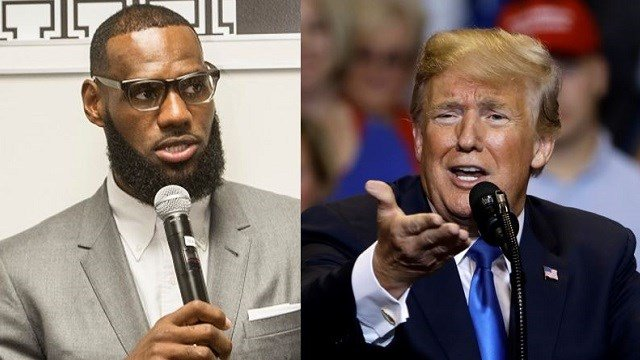 LeBron James speaks after the opening ceremony for the I Promise School in Akron, Ohio, July 30, 2018 (AP Photo/Phil Long). President Donald Trump speaks during a rally Aug. 2, 2018, in Wilkes Barre, Pa. (AP Photo/Matt Rourke).