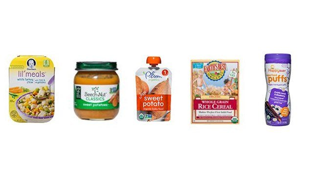 Consumer Reports found 15 baby and toddler foods, including these five, to contain levels of heavy metals such as arsenic that pose a potential health risk. The organization says to not feed children more than one serving of these a day.(Consumer Reports)