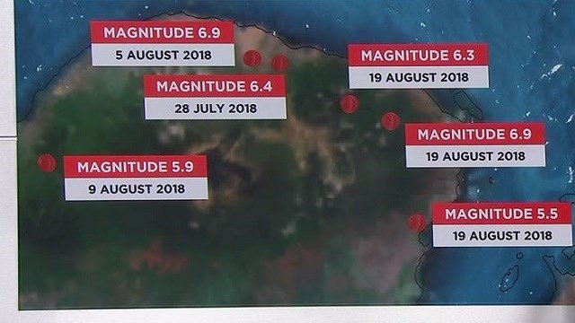 This graphic shows where several recent earthquakes struck Indonesia. (CNN)