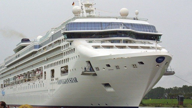 """The cruise liner Norwegian Star is shown in the shipyard """"Meyer Werft"""" in Papenburg, Germany, Oct. 2, 2001. A woman fell off the Norwegian Star in the Adriatic Sea near Croatia Aug. 18, 2018. (AP Photo/Joerg Sarbach)"""