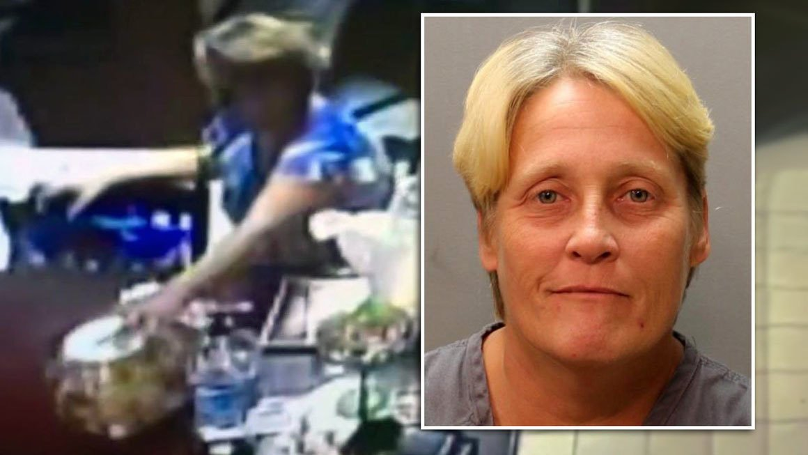 Tammy Wynnell, 46, was arrested after police said surveillance video showed her stealing a donation jar intended to help the family of a 7-year-old shooting victim. (The Jacksonville Sheriff's Office, WJXT via CNN)