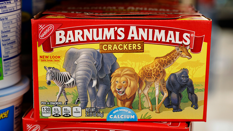 This Monday, Aug. 20, 2018, photo shows a box of Nabisco Barnum's Animals crackers on the shelf of a local grocery store in Des Moines, Iowa. (AP Photo/Charlie Neibergall)