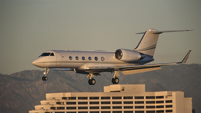 A Gulfstream IV jet, similar to the one pictured, bound for the United Kingdom has been diverted to a Massachusetts airport after it blew two tires upon takeoff in New Jersey. (Getty Images)