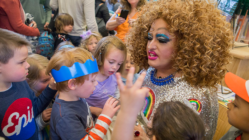 In this file 2017 file photo, Lil Miss Hot Mess hosts a similar drag queen story time for children at the Brooklyn Public Library in New York. (AP Photo/Mary Altaffer)