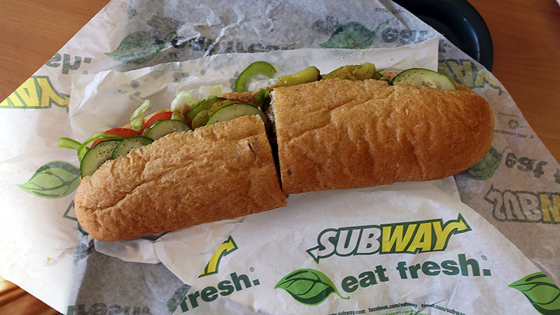 A Subway sandwich is seen at a restaurant in Miami, Florida on Oct. 21, 2015.  (Joe Raedle/Getty Images)