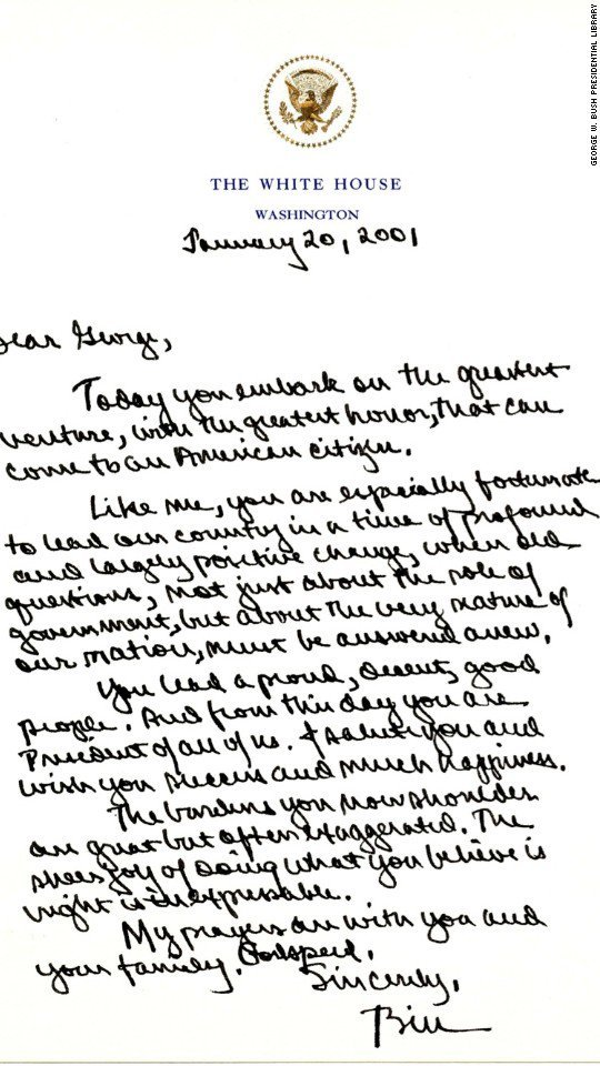 Former President Bush s letter to Obama now public WSMV News 4