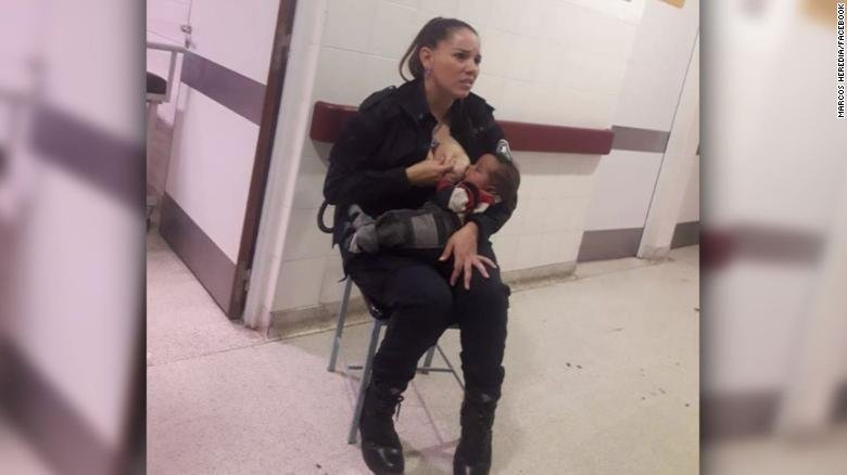 Photo of police officer breastfeeding malnourished baby at hospital goes viral