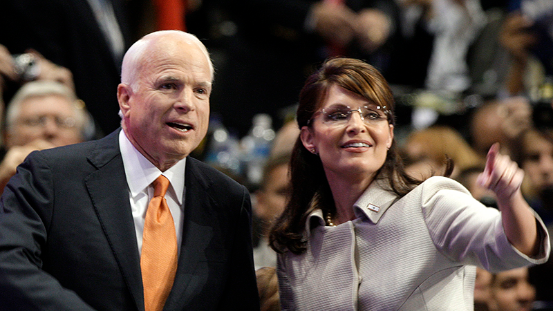 Sarah palin isnt invited to john mccains memorial services republican vice presidential candidate sarah palin right is joined by republican presidential candidate john thecheapjerseys Choice Image